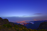 Portugal, Madeira, View to atlantic coast, blue hour - FDF000109