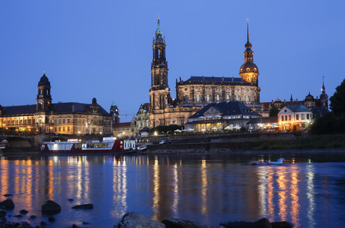 Germany, Saxony, Dresden, Dresden Cathedral in the evening - JTF000682
