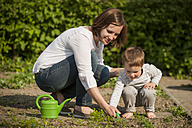 Mother and her little son gardening - PAF001452