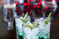 Fresh cocktail with mint liqueur in glasses - JUNF000353