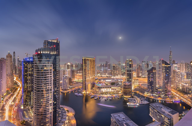 UAE, Dubai, view to Dubai Marina by night - NKF000296