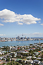 New Zealand, Auckland, Skyline, City Center, Central Business District, Sky Tower, District Devenport in the foreground - GWF004252