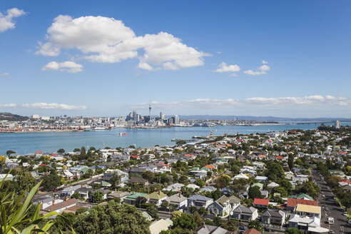 New Zealand, Auckland, Skyline, City Center, Central Business District, Sky Tower, District Devenport in the foreground - GWF004253