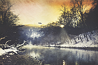 Germany, winter atmosphere at sunrise, Wupper river near Remscheid, digitally manipulated - DWIF000534