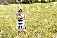 Little girl on a meadow blowing soap bubbles - STKF001338
