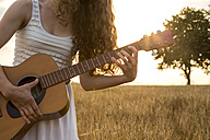 Young woman playing guitar, evening sun, barley field - SARF002057