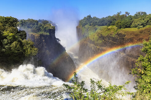 Southern Africa, Zimbabwe, Victoria Falls, Devil's Cataract with rainbow - FOF008258