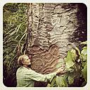 New Zealand, North Island, West Coast, Waitakere Ranges, rainforest bush, woman hugging Kauri tree - GWF004329