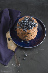 Chocolate blueberry cake on plate - MYF001076