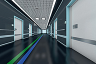 Corridor with guidance system in a modern hospital, 3D Rendering - SPCF000055