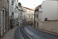 Portugal, Lisbon, view to curved street with tram rails - HCF000139