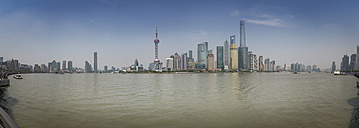 China, Shanghai, Panoramic view of Pudong skyline with Huangpu River - NKF000321