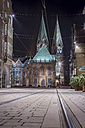 Germany, Bremen, view to Bremen Cathedral at night - NKF000335