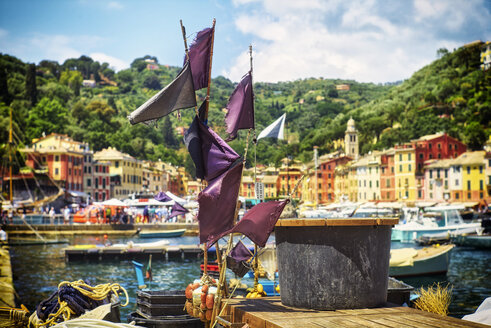 Italy, Liguria, Portofino, marking flags on a fishing boat - DIKF000143