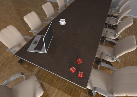 Dice, laptop and coffee cup on conference table, 3d illustration - ALF000563