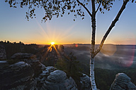 Germany, Saxony, Saxon Switzerland National Park, Elbe Sandstone Mountains at dawn - HSIF000380