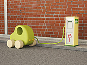 Electric Vehicle Charging Station, loading, wooden car - UWF000565
