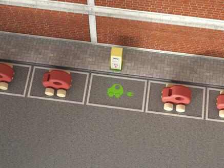 Electric Vehicle Charging Station, symbol on asphalt, car park, wooden cars - UWF000568