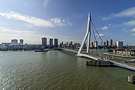 Netherlands, Rotterdam, view to Erasmusbrug with city centre with in the background - THAF001419