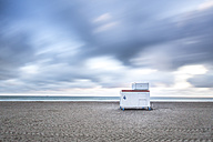 Germany, Mecklenburg-Western Pomerania, Warnemuende, Baltic Sea, Clouds and lifeguard station - ASC000229