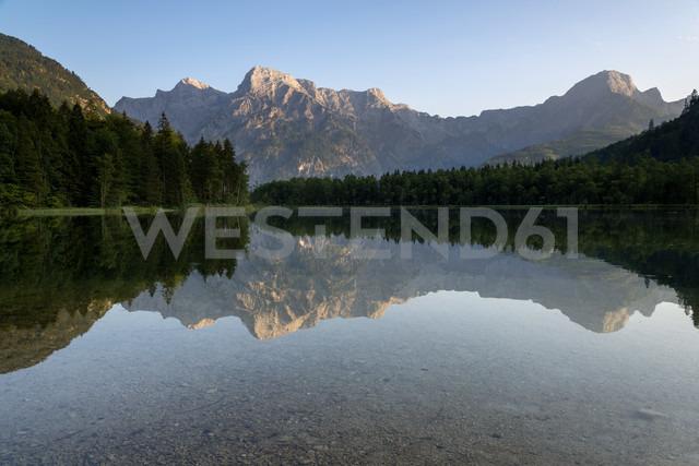 Austria, Upper Austria, Lake Alm in the evening - MKFF000248