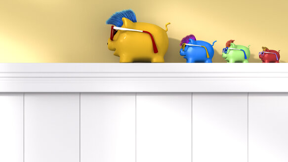 Row of four different lucky charm pigs - AHUF000028