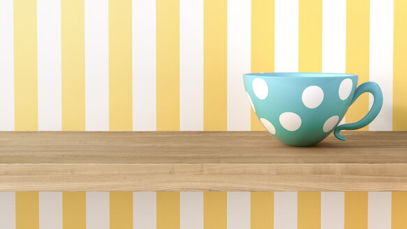 Cup with dots in front of striped wallpaper - AHUF000031