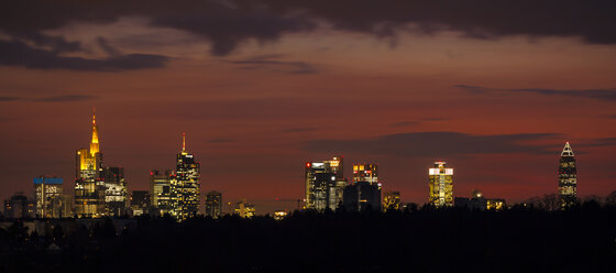 Germany, Hesse, Frankfurt, View to financial district at night, Panorama - MPAF000022
