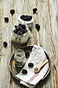 Glass of chia pudding with natural yoghurt and blackberries - ODF001180