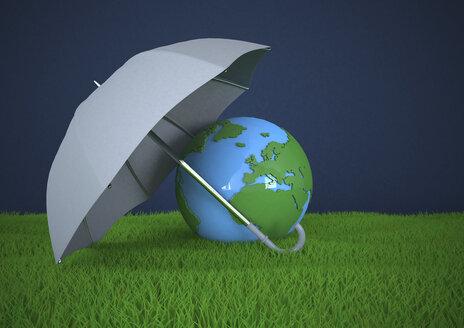 Globe with umbrella on green lawn, 3d illustration - ALF000591