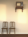 Hotel room with old TV and two wooden chairs at twilight, 3D Rendering - UWF000575