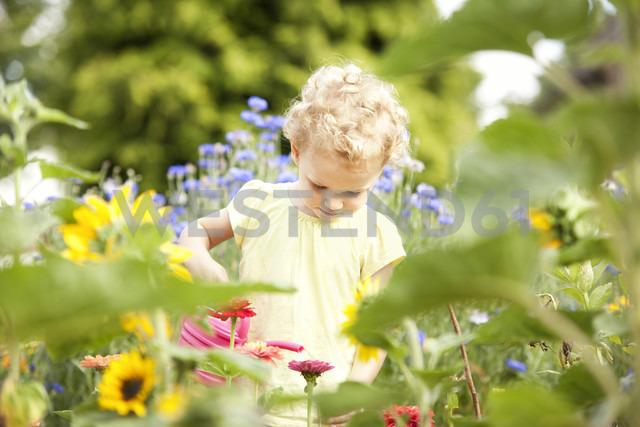 Little girl standing in the garden watering flowers - MFRF000323 - Michelle Fraikin/Westend61