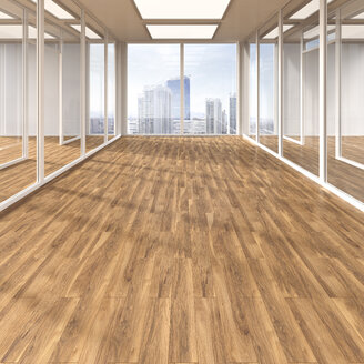 Empty conference room with parquet and glass partitions, 3D Rendering - UWF000583
