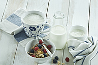 Breakfast with muesli and fruits, cappuchino and bottle of milk - ASF005663