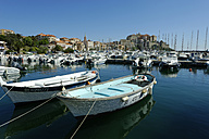 France, Corsica, Calvi, old town with harbor and citadel - LBF001163