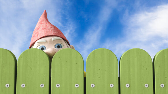 Garden gnome peeking over a green fence, 3D Rendering - AHUF000039