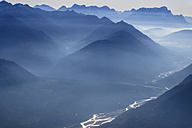 Germany, Bavaria, River Isar and the Alps with Wetterstein mountains, Zugspitze and Soyenspitze - PEDF000158