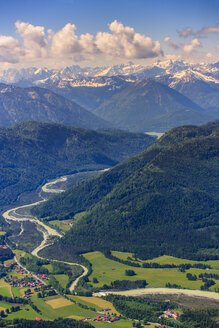 Germany, Bavaria, Aerial view of Lenggries with Isar river and the Alps - PEDF000074
