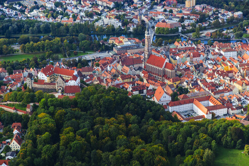 Germany, Bavaria, aerial view of Landshut and Trausnitz Castle - PEDF000004