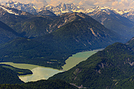 Germany, Bavaria, Aerial view of Sylvenstein storage lake and Alps - PEDF000008