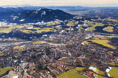 Germany, Bavaria, aerial view of Isarwinkel, river Isar, Bad Toelz, Zugspitze and the Alps - PEDF000025
