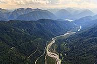 Germany, Bavaria, Aerial view of Sylvenstein storage lake and Alps - PEDF000032