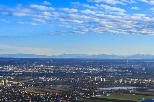 Germany, Bavaria, Munich, Cityscape with Alps in background - PEDF000123
