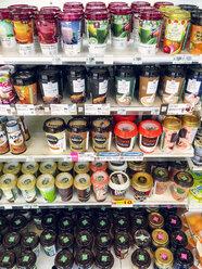 Japan, packaged beverages in supermarket - FL001178