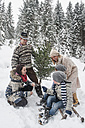 Austria, Altenmarkt-Zauchensee,  happy family with Christmas tree in winter forest - HHF005402