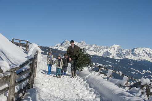 Austria, Altenmarkt-Zauchensee, father with children carrying Christmas tree in winter landscape - HHF005387