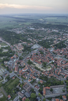 Germany, aerial view of Quedlinburg with collegiate church in the evening - PVCF000533