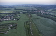 Germany, aerial view of Devil's Wall near Weddersleben at evening twilight - PVCF000538