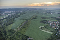 Germany, aerial view of Devil's Wall near Weddersleben at evening twilight - PVCF000540