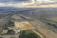 Germany, Quedlinburg, aerial view of quartz sand pit in the evening - PVCF000546